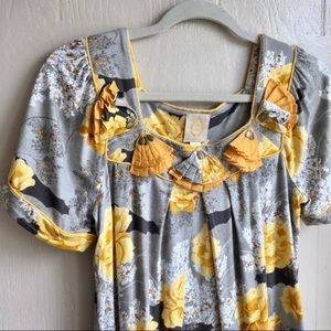 Anthropologie Floral Detailed Blouse